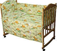Комплект постельного белья + бортик в детскую кроватку Руно бязь Сладкий сон салатовый