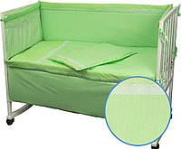 Комплект постельного белья + бортик в детскую кроватку Руно бязь Карапуз салатовый