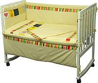 Комплект постельного белья + бортик в детскую кроватку Руно миткаль Лето