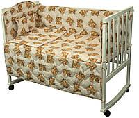 Комплект постельного белья + бортик в детскую кроватку Руно бязь Мишки спят розовый