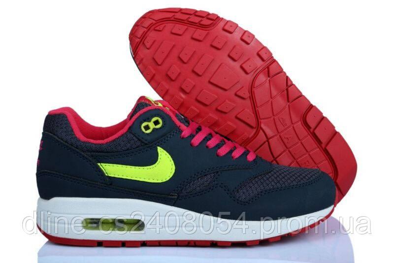 Женские кроссовки Nike Air Max 87 Тёмносиние с Салатовым