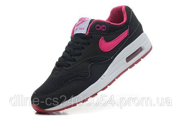 Женские кроссовки Nike Air Max 87 Чёрные с малиновым