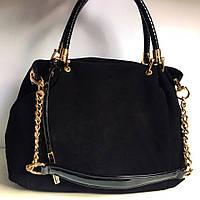 Замшевая женская сумка черного цвета, фото 1
