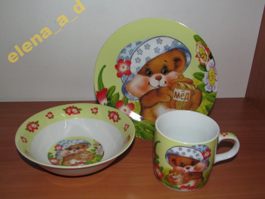 C102 Набор детской посуды: Медвежонок