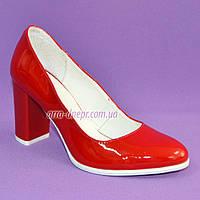 Женские туфли из натуральной лаковой кожи красного цвета на высоком каблуке. 37 размер