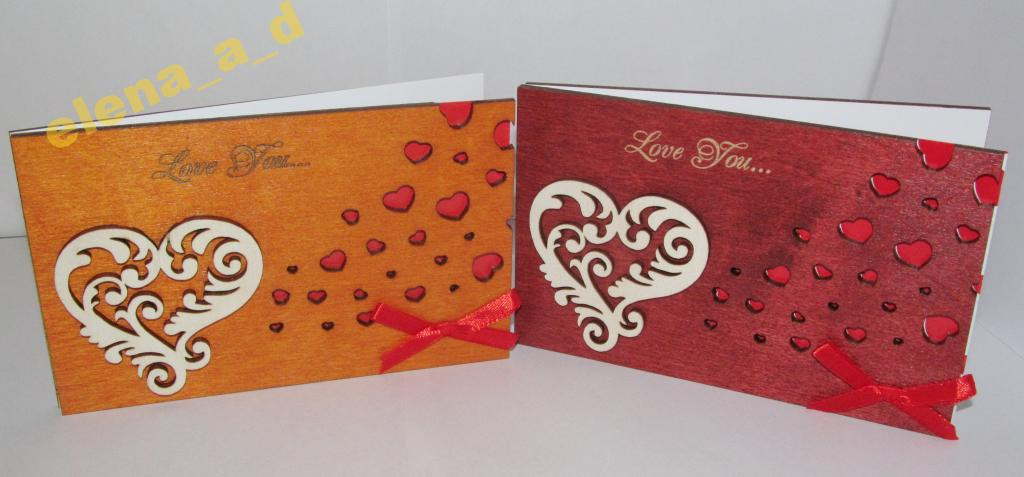 Открытка из дерева Love you - Сердце