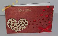 Открытка из дерева Love you - Сердце1