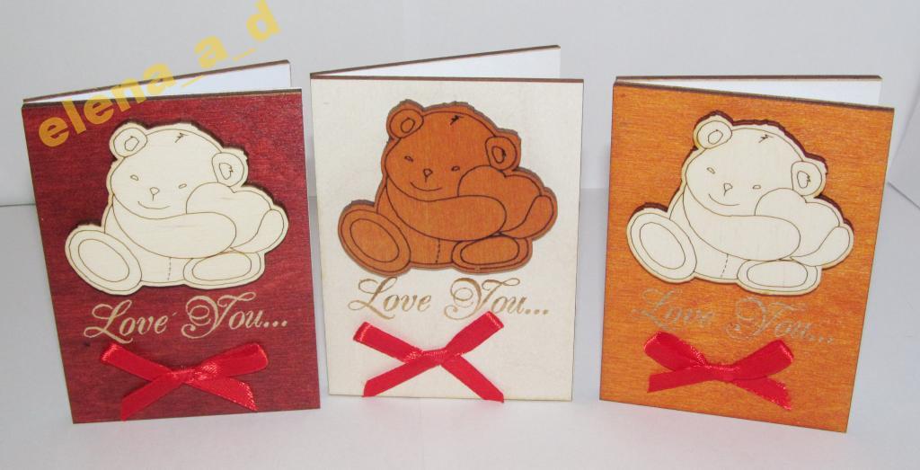 Мини-открытка из дерева Мишка с сердцем