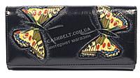 Оригинальный женский кожаный кошелек высокого качества с бабочками SALFEITE art.2536FZP-F82 черн