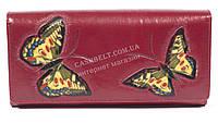 Оригинальный женский кожаный кошелек высокого качества с бабочками SALFEITE art.2536FZP-F81 красн
