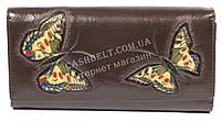 Оригинальный женский кожаный кошелек высокого качества с бабочками SALFEITE art.2030FZP-F83 коричн