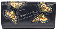 Оригинальный женский кожаный кошелек высокого качества с бабочками SALFEITE art.2030FZP-F82 черн