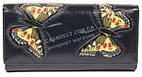 Оригинальный женский кожаный кошелек высокого качества с бабочками SALFEITE art.2030FZP-F82 черн, фото 1