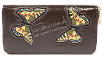 Женский кожаный кошелек барсетка высокого качества с бабочками SALFEITE art.2548FZP-F83 коричн, фото 1