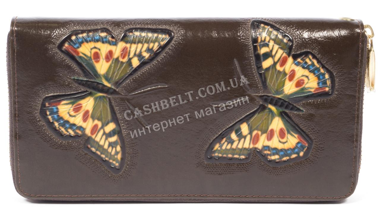 Женский кожаный кошелек барсетка высокого качества с бабочками SALFEITE art.2548FZP-F83 коричн