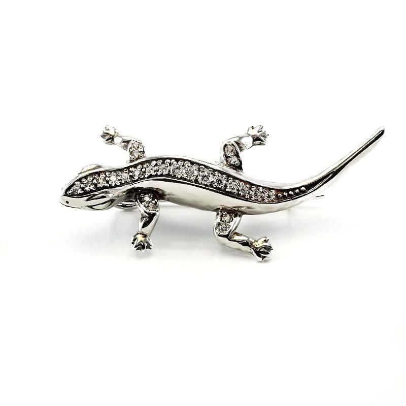 Серебряная брошка ящерица Саламандра