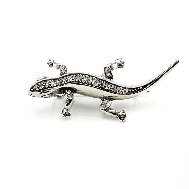 Серебряная брошь ящерица Саламандра