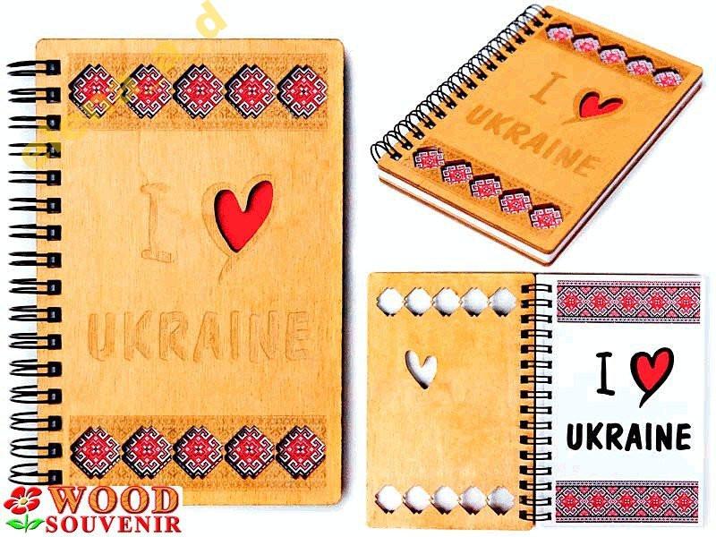 Блокнот из дерева Украинский (А6) на пружине