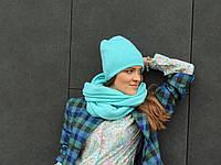 Шарф снуд из шерсти бирюзового цвета, фото 1