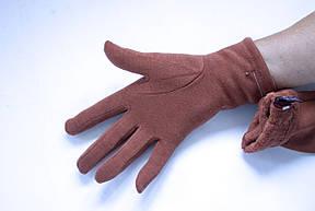 Трикотажные светло-коричневые перчатки Средние, фото 2