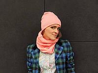 Нежно-персиковый баф шарф из шерсти