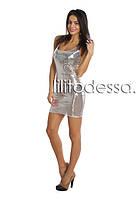 Клубное платье с пайетками серебро, фото 1