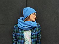 Шерстяная шапочка небесного цвета, фото 1