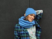 Шерстяной хомут шарф небесного цвета