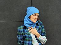Шерстяной шарф баф небесного цвета