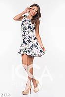 Летнее платье темно-синего цвета с цветочным принтом и воланом по краю - 2139_мультиколор, фото 1
