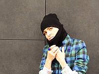 Черный баф шарфик из шерсти