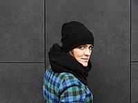 Черная шерстяная шапка-бини, фото 1