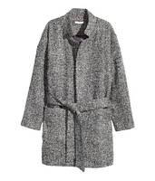 Женское серое брендовое меланжевое  oversize пальто с поясом  осень H&M