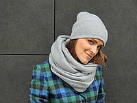 Стильный шарф снуд серого цвета