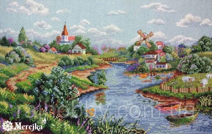 Мережка Весняний пейзаж Набор для вышивки крестом К-57