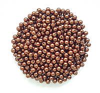 Бусины Жемчуг Шоколадный металлик 6 мм Упаковка 50 гр/475 шт, фото 1