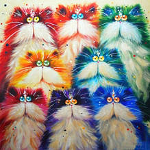 Набор алмазной вышивки Разноцветные котики