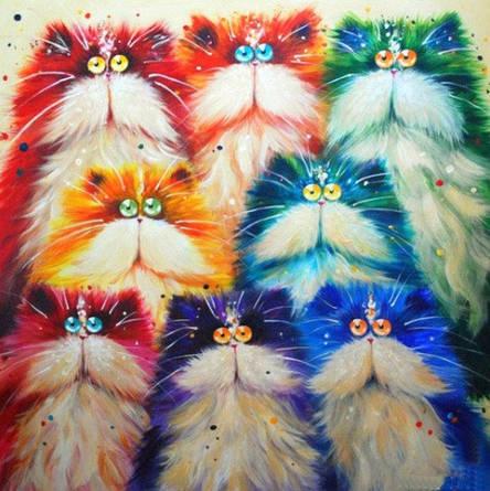 Набор алмазной вышивки Разноцветные котики, фото 2