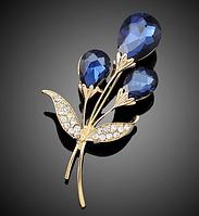 Женская  брошка Горный хрусталь синяя