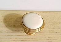 Ручка кнопка GU-P7704 матовое золото с керамикой , фото 1