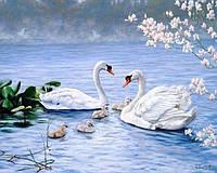 Картина из страз Благородные белые лебеди