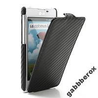 Чехол-флип карбон LG Optimus L5 II E460 E455