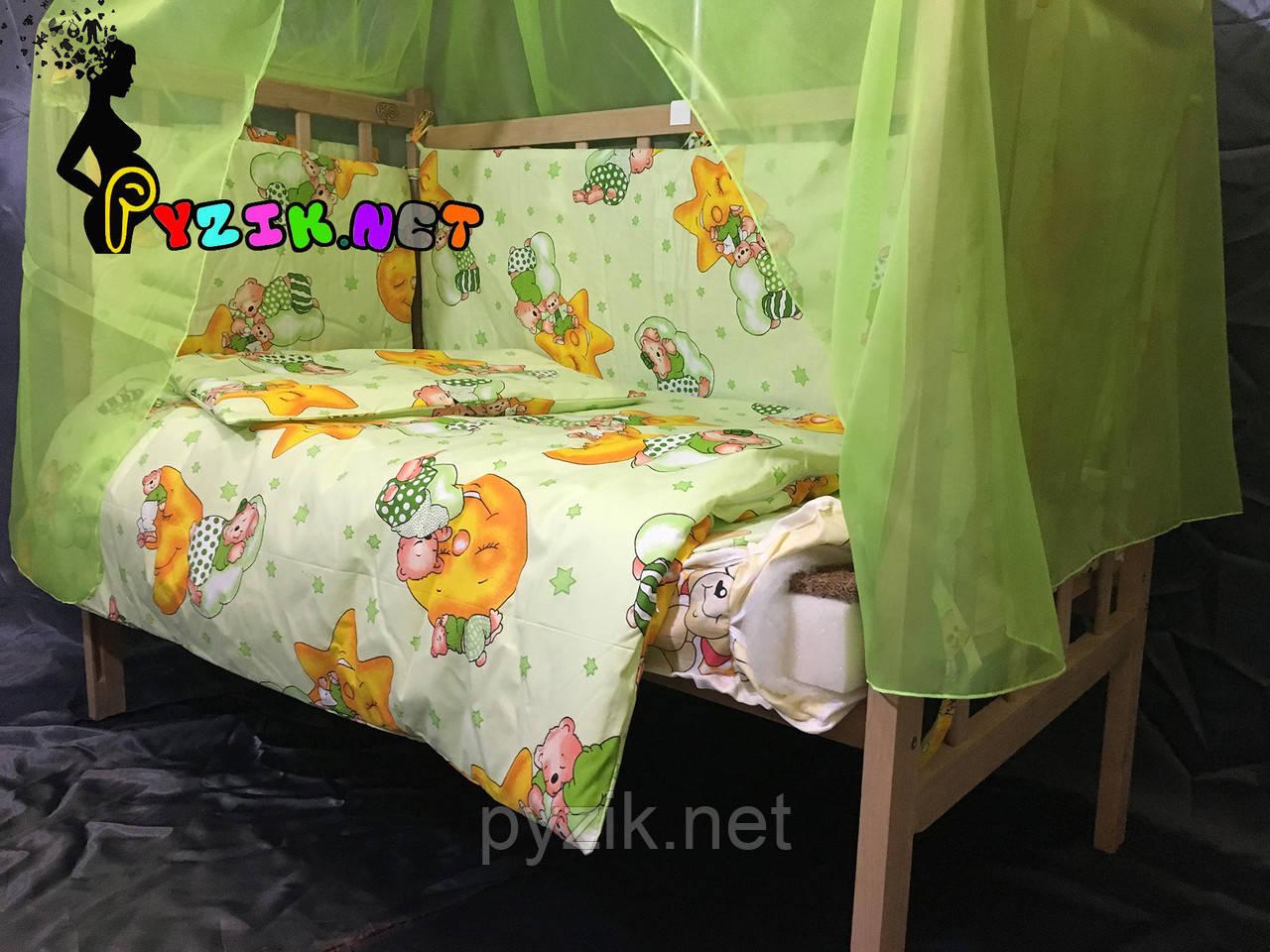 Комплект для сна 11 предметов (кроватка ольха светлая, постельный набор Premium, матрас КП, держатель)