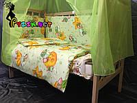 Комплект для сна 11 предметов (кроватка ольха светлая, постельный набор Premium, матрас КП, держатель), фото 1