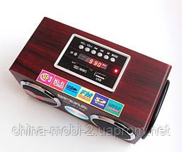 Портативная колонка Opera OP-8752, MP3 SD USB FM, красное дерево, фото 2