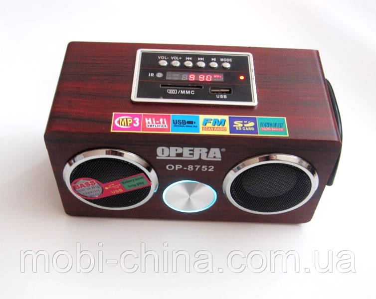 Портативная колонка Opera OP-8752, MP3 SD USB FM, красное дерево