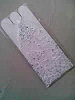 Свадебные перчатки (П-Р-16-03) петля, до локтя (белые) со стразами