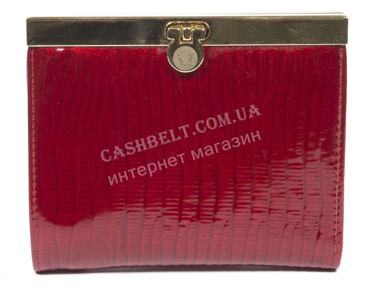 Стильный лаковый женский кожаный кошелек высокого качества art. V297-63 красный