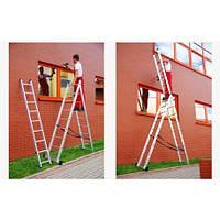 Лестница алюминиевая Higher 3-х секционная универсальная раскладная 3х8 ступ. Польша