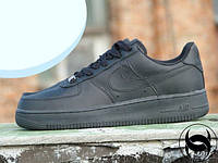 Кроссовки мужские низкие черные Nike Air Force Low 1 Full Black Leather (реплика), фото 1
